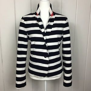 Gap, The Modern Blazer, Navy / Cream Stripe - 8